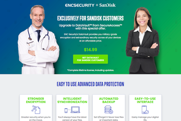 ENC Security + SanDisk page